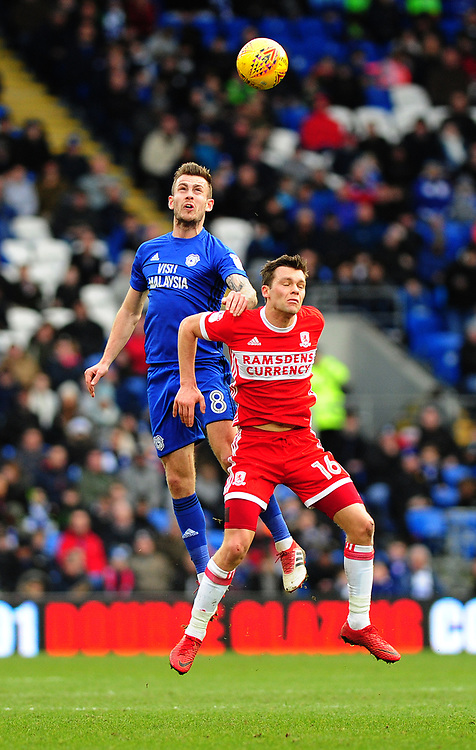 Cardiff City's Joe Ralls vies for possession with Middlesbrough's Jonathan Howson<br /> <br /> Photographer Ashley Crowden/CameraSport<br /> <br /> The EFL Sky Bet Championship - Cardiff City v Middlesbrough - Saturday 17th February 2018 - Cardiff City Stadium - Cardiff<br /> <br /> World Copyright © 2018 CameraSport. All rights reserved. 43 Linden Ave. Countesthorpe. Leicester. England. LE8 5PG - Tel: +44 (0) 116 277 4147 - admin@camerasport.com - www.camerasport.com