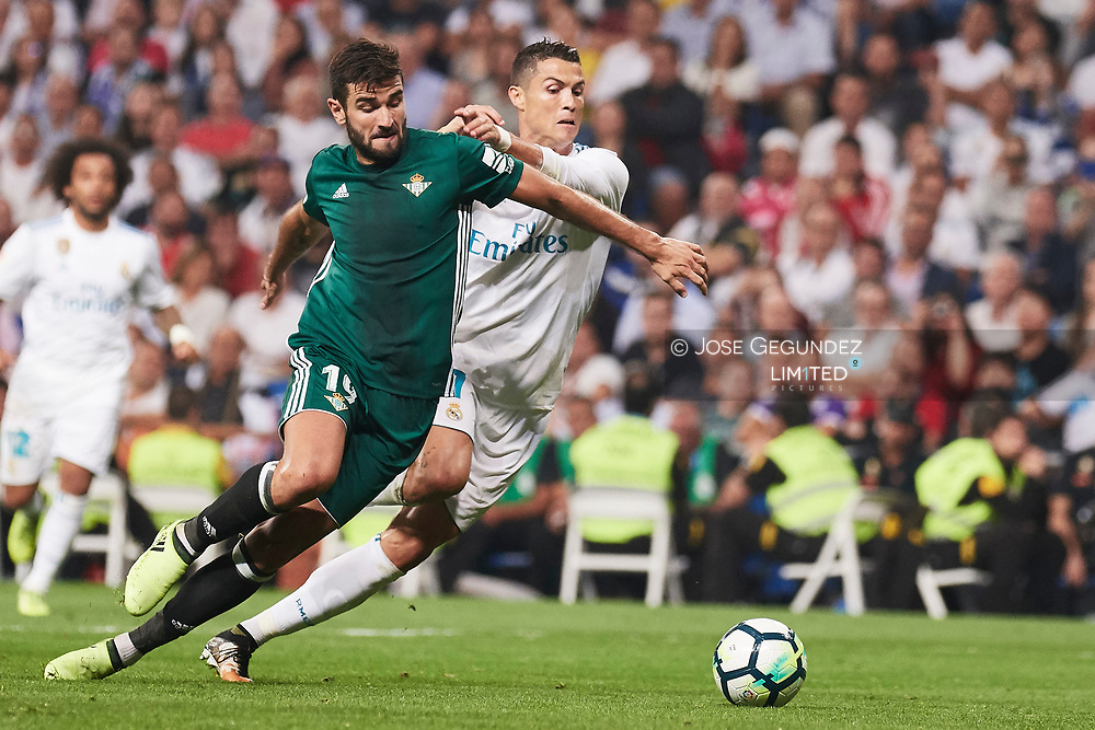 Cristiano Ronaldo (forward; Real Madrid) in action during La Liga match between Real Madrid and Real Betis Balompie at Santiago Bernabeu on September 20, 2017 in Madrid