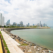 The curved shoreline on the waterfront of Panama City, Panama, on Panama Bay, looking towards Punta Paitilla in the distance.