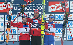 Second placed Johan Kjoelstad of Norway, Winner and the world champion Ola Vigen Hattestad of Norway and third placed Nikolay Morilov of Russia  at Men`s Sprint Free Finals Cross-country race at  FIS Nordic World Ski Championships Liberec 2008, on February 24, 2009, Vestec, Liberec, Czech Republic. (Photo by Vid Ponikvar / Sportida)