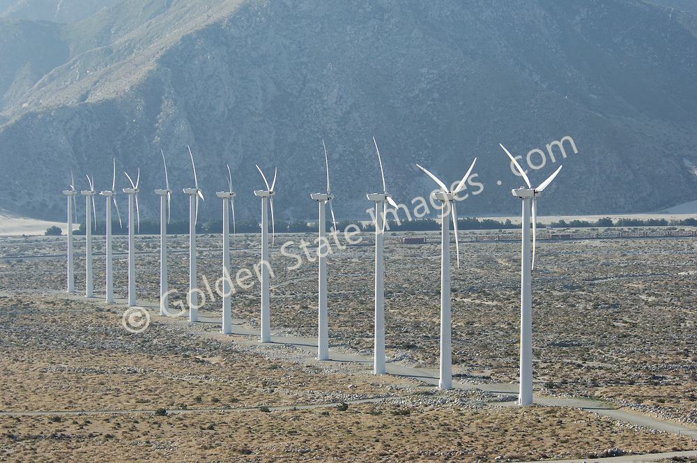 California leads the world in renewable wind turbine electric power generation with over 40% of total installed capacity.<br /> <br /> The San Gorgonio Pass outside of Palm Springs California has proven ideal for wind power generaton. The restricted pass formed by the San Jacinto and San Bernardino Moutains funnel coastal winds drawn by the hot desert regions of Indio Coachella and Palm Springs to the east. The largest of these turbines reach over 300 feet in height and can generate over 1000 killowatts of power per hour.<br /> <br /> Like solar and geothermal wind power is a renewable or green power resource.