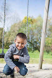 Young small boy hanging playground swing