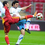 Galatasaray's Sabri SARIOGLU (L) during their Turkish superleague soccer derby match Galatasaray between Trabzonspor at the TT Arena in Istanbul Turkey on Sunday, 10 April 2011. Photo by TURKPIX