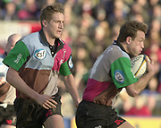 Twickenham, Surrey, England, UK., 25th January 2003, Zurich Premiership Rugby, Stoop Memorial Ground, England, Harlequins vs Leicester Tigers,<br /> [Mandatory Credit: Peter Spurrier/Intersport Images],<br /> Powergen Cup Quarter final Harlequins v Leicester<br /> Dan Luger right running with the ball supporrted by Will Greenwood