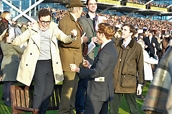 NEWBURY, ENGLAND 26TH NOVEMBER 2016: Left to right, Josh McGuire and James Norton at Hennessy Gold Cup meeting Newbury racecourse Newbury England. 26th November 2016. Photo by Dominic O'Neill