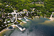 Aerial view of Ellison Bay, Door County, Wisconsin, on a beautiful summer day!