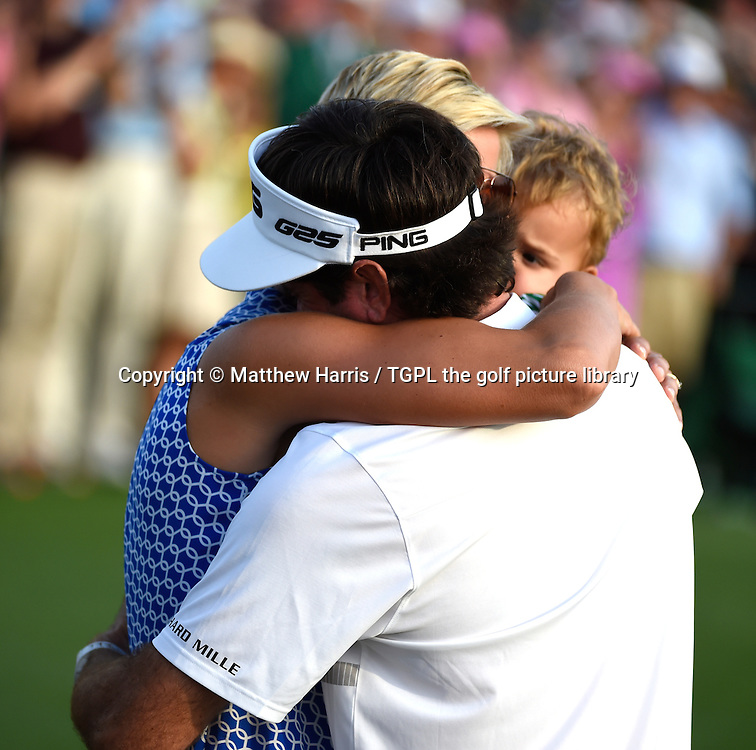 Bubba WATSON (USA) with his wife Angie and son Caleb at 18th after winning his second Masters title during fourth round US Masters 2014,Augusta National,Augusta, Georgia,USA.