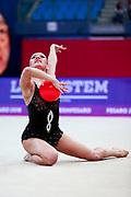 Agagulian Iasmina during qualifying at ball in Pesaro World Cup at Adriatic Arena on April 13, 2018. Iasmina is an Armenian rhythmic gymnastics athlete born in Yerevan in 2001.