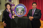 Elyse Lanier and Houston ISD Superintendent Richard Carranza pose for a photograph with a marker during a renaming ceremony at Bob Lanier Middle School, September 21, 2016.