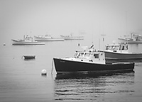 fishing boats in fog, Stonington, Maine coast