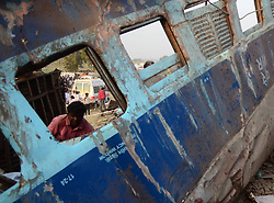 November 20, 2016 - Kanpur: A man seeks from window of damaged train's coach during Rescue and relief works in progress after 14 coaches of the Indore-Patna express derailed, killing around 90 people and injuring 150, in Kanpur Dehat on 20-11-2016. photo by prabhat kumar verma (Credit Image: © Prabhat Kumar Verma via ZUMA Wire)