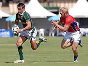 M J Mentz, South Africa during the IRB Rugby Sevens tournament held at Adelaide Oval,Adelaide, South Australia,Saturday, April 5, 2008.<br /> Photo;Michael Oakes/SMP<br /> Conditions of Use: This image is intended for editorial use only (EG: news or commentary, print or electronic).  Any commercial or promotional use requires additional clearance.  Please contact for details.