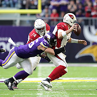 MINNEAPOLIS, MN - NOVEMBER 20: Carson Palmer #3 of the Arizona Cardinals is sacked by Brian Robison #96 of the Minnesota Vikings in the second half of the game on November 20, 2016 at US Bank Stadium in Minneapolis, Minnesota. (Photo by Adam Bettcher/Getty Images)