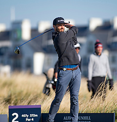 Jamie Dornan at the second tee. Alfred Dunhill Links Championship this morning at Championship Course at Carnoustie.