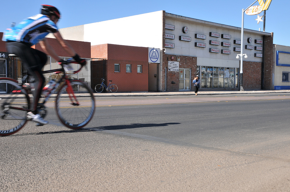 El Tour de Tucson 2014 finisher on 6th Avenue. Bike-tography by Martha Retallick.