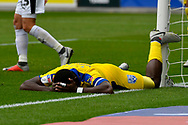 Deji Oshilaja (4) of AFC Wimbledon lies face down after missing a chance during the EFL Sky Bet League 1 match between Plymouth Argyle and AFC Wimbledon at Home Park, Plymouth, England on 6 October 2018.