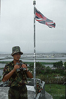 British Gurkha soldier guarding the Chinese/Hong Kong border in 1979. The British Forces helped to capture illegal immigrants coming in from the Chinese main land. Photographed by Terry Fincher