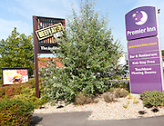Premier Inn hotel Swindon West budget hotel and grill signs, Lydiard Fields business park, Swindon, England, UK