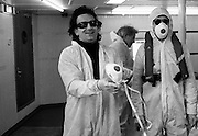 Bono photographed on the Rainbow Warrior at a U2 Greenpeace protest at the Sellafield Nuclear Plant in June 1992.