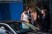 Yasmin Le Bon; Malin Jefferies, Ark fundraising dinner and auction. ( Absolute Return for Kids ) Old Eurostar Terminal. Waterloo Station. London. 4 June 2009