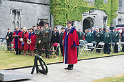 08/07/2018  repro  free:   Cllr Niall McNelis Mayor of Galway  places a wreath during The National Day of Commemoration Ceremony at NUI Galway in honour of all those Irishmen and Irish Women who served in past wars or on Service with the UN.Photo:Andrew Downes, XPOSURE
