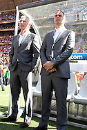 14 JUN 2010:  Netherlands head coach Bert van Marwijk (NED)(left)..The Netherlands National Team led the Denmark National Team 1-0 at the end of the 1st half at Soccer City Stadium in Johannesburg, South Africa in a 2010 FIFA World Cup Group E match.
