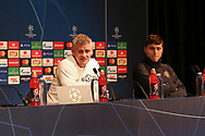 Manchester United interim Manager Ole Gunnar Solskjaer and Victor Lindelof during the Manchester United Press Conference ahead of the Champions League match between Paris Saint-Germain and Manchester United at Parc des Princes, Paris, France on 5 March 2019.