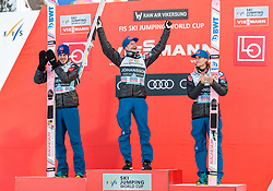 18.03.2018, Vikersundbakken, Vikersund, NOR, FIS Weltcup Ski Sprung, Raw Air, Vikersund, Finale, im Bild Andreas Stjernen (NOR, 2. Platz), Sieger Robert Johansson (NOR), Daniel Andre Tande (NOR, 3. Platz) // 2nd placed Andreas Stjernen of Norway, Winner Robert Johansson of Norway, 3rd placed Daniel Andre Tande of Norway during the 4th Stage of the Raw Air Series of FIS Ski Jumping World Cup at the Vikersundbakken in Vikersund, Norway on 2018/03/18. EXPA Pictures © 2018, PhotoCredit: EXPA/ JFK