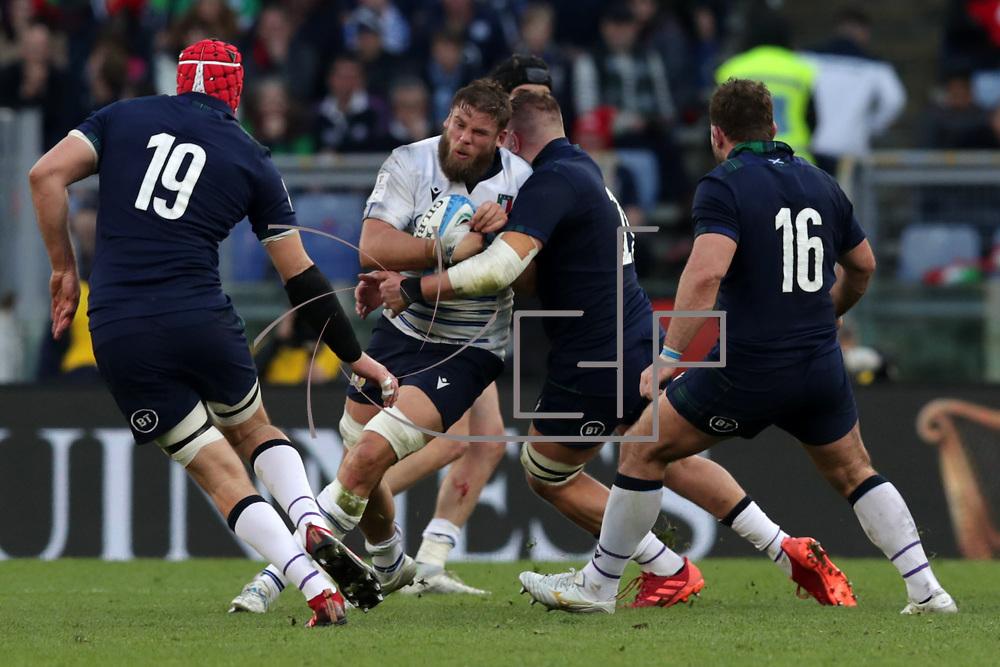 Roma 22/02/2020 Stadio Olimpico<br /> Guinness 6 nations 2020 : Italia vs Scozia<br /> Dean Budd placcato da Matt Fagerson