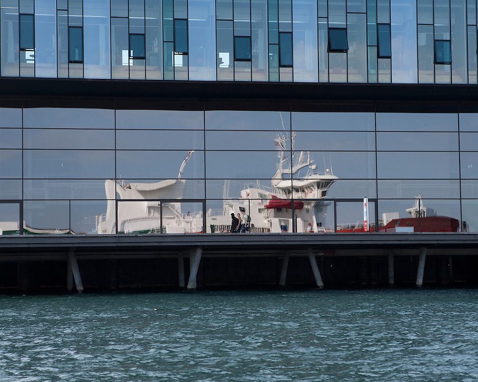 Reflection of a ship in Copenhagen waterfront
