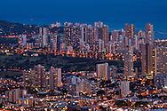 Evening light over Waikiki, Honolulu, Oahu, Hawaii