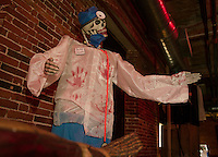 """""""Dr Death"""" will cure what ails you as you walk through """"Mayhem at the Mill"""" at the Belknap Mill starting Friday evening.  (Karen Bobotas/for the Laconia Daily Sun)"""
