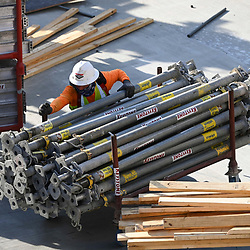 Concrete crews work on a parking garage as fervent high rise construction continues unfazed in downtown Austin despite the nationwide COVID-19 pandemic. Texas has been stricken with over a half million cases and 10,000 deaths. This project at 44 East Avenue is slated for 53 stories and is one of two dozen planned towers reshaping Austin's skyline.