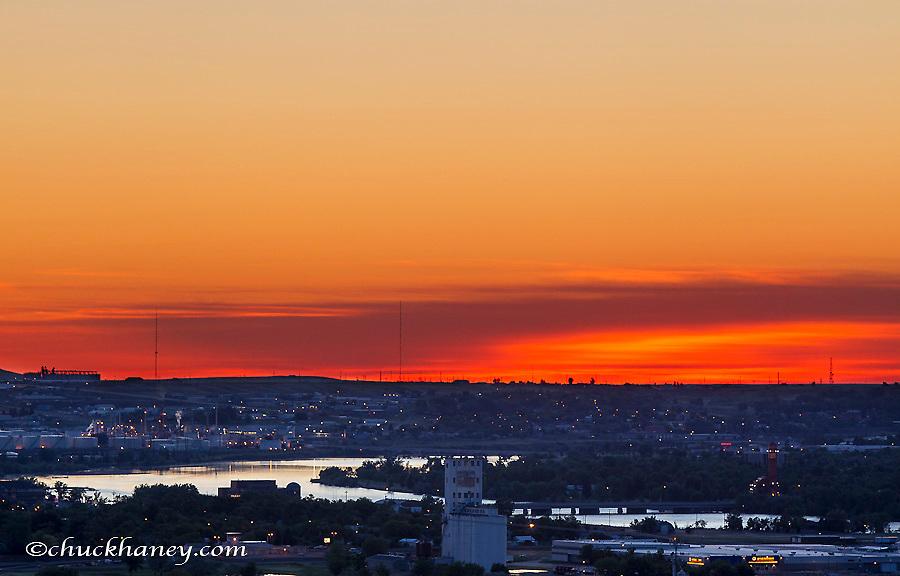 Sunrise over the Missouri River and Great Falls, Montana, USA