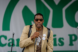 May 5, 2018 - New York, New York, United States - Council Member Jumaane Williams? - The NYC Cannabis Parade and Rally, New York's longest running annual pro-cannabis demonstration, returned for its 47th year on May 5, 2018. The event started in Midtown Manhattan and marched to Union Square Park for an afternoon rally, with a powerful roster of elected officials, including two state legislators and three City Council Members, speaking from stages in Midtown and Union Square Park throughout the day. (Credit Image: © Erik Mcgregor/Pacific Press via ZUMA Wire)