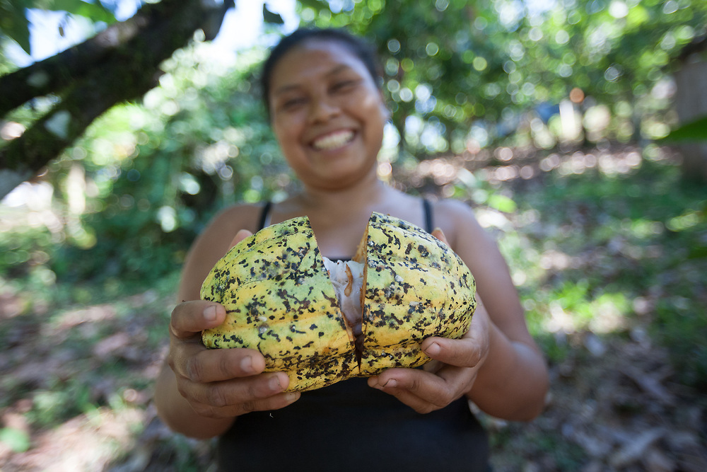 Sandra Cruz Mendoza, 26, mother of four, in her cocoa patch in El Papayo, Waslala. Sandra is a member of the CACAONICA coop. Cooperativa de Servicios Agroforestal y Comercialización de Cacao, CACAONICA, is located in Waslala, Nicaragua and is Fairtrade-certified.