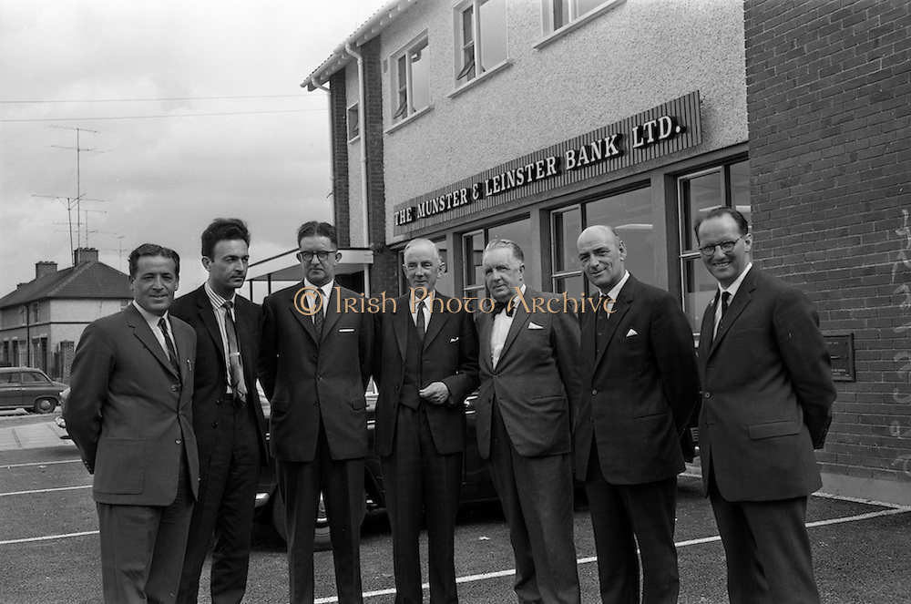 13/06/1963<br /> 06/13/1963<br /> 13 June 1963<br /> Opening of Ballyfermot Branch office of the Munster and Leinster Bank. Pictured at the opening were (l-r):  Mr. M Hannon, (Hannon Brothers, Contractors); Mr. A.J. Zakrzewski, (joint architect); Mr. Charles Mortell, Branch Manager; Mr. B.C. Harty, Assistant General Manager, Munster and Leinster Bank; Mr. K.F. Harley, consultant; Mr. P.J. Oliver, Superintendent of Premises and Mr. A.H. Lardner, (joint architect).