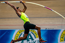 Rafael Raap in action on pole vault during the Dutch Athletics Championships on 14 February 2021 in Apeldoorn