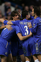 Photo: Lee Earle.<br /> Chelsea v Newcastle United. The Barclays Premiership.<br /> 19/11/2005. chelsea's Hernan Crespo is congratulated after scoring their second.