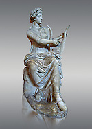 Roman stuate from the time of Hadrian of the muse Tersichore, inv 308, Vatican Museum Rome, Italy,  grey background ..<br /> <br /> If you prefer to buy from our ALAMY STOCK LIBRARY page at https://www.alamy.com/portfolio/paul-williams-funkystock/greco-roman-sculptures.html . Type -    Vatican    - into LOWER SEARCH WITHIN GALLERY box - Refine search by adding a subject, place, background colour, museum etc.<br /> <br /> Visit our CLASSICAL WORLD HISTORIC SITES PHOTO COLLECTIONS for more photos to download or buy as wall art prints https://funkystock.photoshelter.com/gallery-collection/The-Romans-Art-Artefacts-Antiquities-Historic-Sites-Pictures-Images/C0000r2uLJJo9_s0c