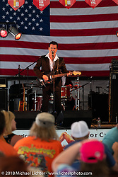 Merle Travis Peterson playing with his Cold Hard Cash band at the Broken Spoke Saloon during Laconia Motorcycle Week. NH, USA. Saturday, June 16, 2018. Photography ©2018 Michael Lichter.
