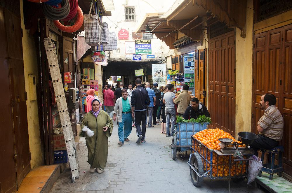 Typical street scene in Fes medina Morocco