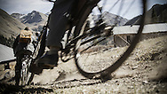 Rene Wildhaber and Ross Schnell ride their old Swiss army bike during the Red Bull Buffalo Soldier Mountain Bike Trip in USA in Animas Forks (Colorado), on October 09th 2012.