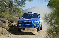 AUTO - WRC 2003 - CYPRUS RALLY -  20030622 - PHOTO : FRANCOIS FLAMAND / DIGITALSPORT<br />N¡ 7 - PETTER SOLBERG - PHILL MILLS / SUBARU IMPREZA WRC - ACTION