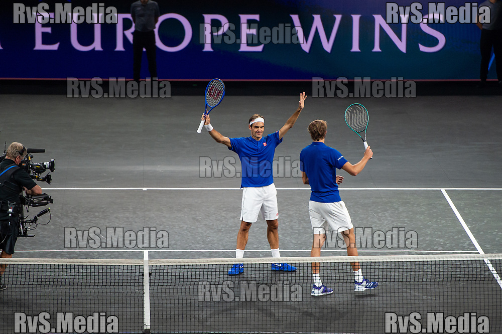 GENEVA, SWITZERLAND - SEPTEMBER 20: Roger Federer and Alexander Zverev of Team Europe celebrates their win during Day 1 of the Laver Cup 2019 at Palexpo on September 20, 2019 in Geneva, Switzerland. The Laver Cup will see six players from the rest of the World competing against their counterparts from Europe. Team World is captained by John McEnroe and Team Europe is captained by Bjorn Borg. The tournament runs from September 20-22. (Photo by Monika Majer/RvS.Media)