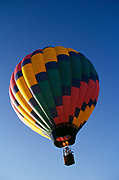 Hot air balloon in flight.