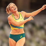 TOKYO, JAPAN August 2:  Nina Kennedy of Australia reacts after a clearance during the qualification pole vault for women during the Track and Field competition at the Olympic Stadium  at the Tokyo 2020 Summer Olympic Games on August 2nd, 2021 in Tokyo, Japan. (Photo by Tim Clayton/Corbis via Getty Images)