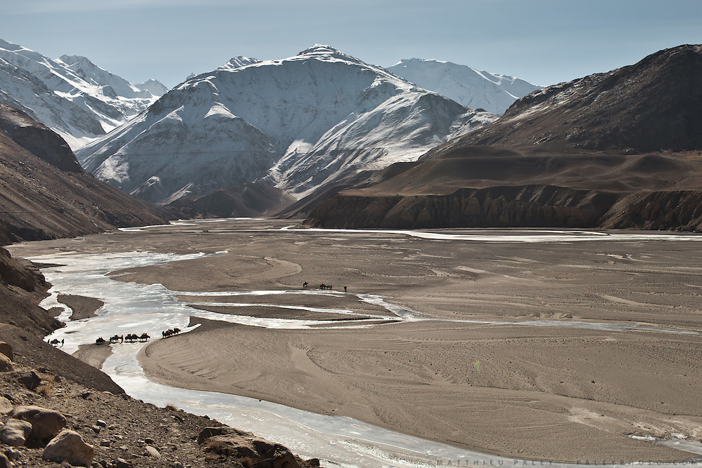 The frozen Wakhan river..Leaving Sarhad village (end of the road in the Wakhan Corridor), to trek up to the Little Pamir with yak caravan over the frozen Wakhan river.