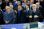 L to R, Everton's Jon Woods (non-executive director), Farhad Moshiri (Majority Shareholder) and Bill Kenwright (Chairman) look on from the Directors Box. Premier league match, Everton vs Watford at Goodison Park in Liverpool, Merseyside on Sunday 5th November 2017.<br /> pic by Chris Stading, Andrew Orchard sports photography.