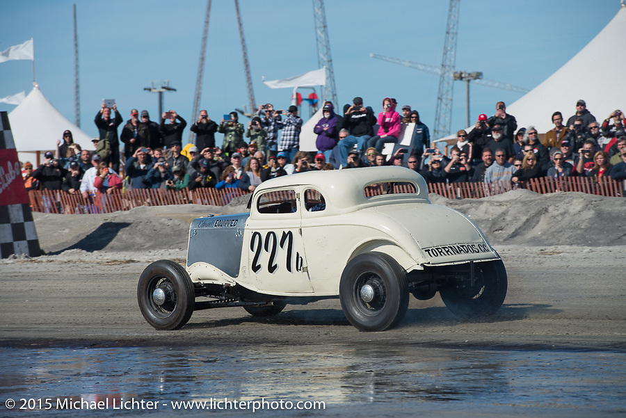 Josh Fredette's 1934Ford 5W Coupe from NH racing the Race of Gentlemen. Wildwood, NJ, USA. October 10, 2015.  Photography ©2015 Michael Lichter.